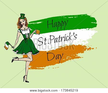 Illustration of woman in St Patricks day costume with flag and beer