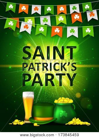 Garland of colored pennants with clover, green pot of gold coins, glass of beer and green hat on shining green background. Irish holiday Saint Patrick's Day. Party poster, disco night placard