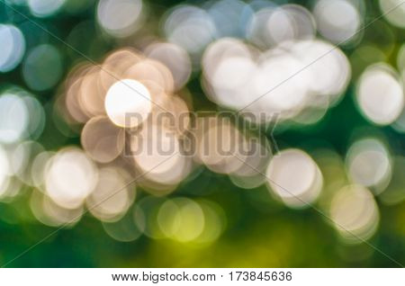 Blurred bokeh background of natural light source taken outdoor. De-focused abstract background.
