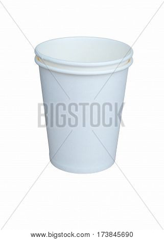 Two white paper cups one in one on a white background close up.