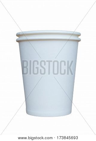 Two white paper cups on a white background side view