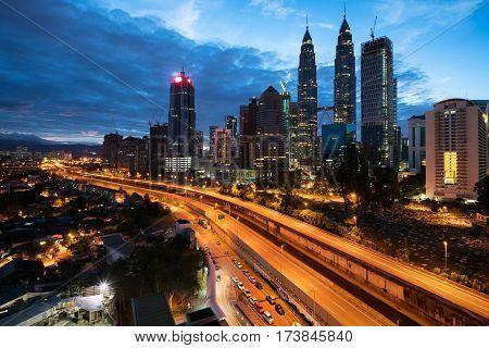 Kuala Lumpur skyline and skyscraper at night in Kuala Lumpur Malaysia.