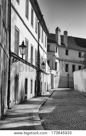 Historical lane in prague quarter Hradcany black and white photo