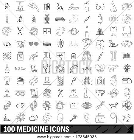 100 medicine icons set in outline style for any design vector illustration