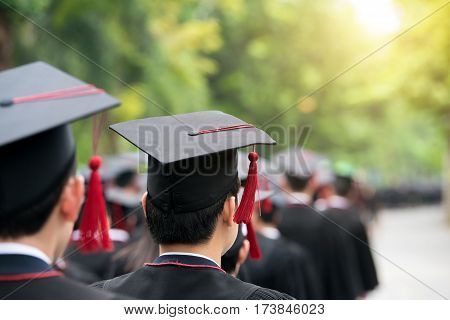 Back of graduates during commencement at university. Close up at graduate cap