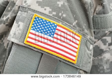 Close Up Studio Shot Of U.s. Flag Patch On Solders Uniform