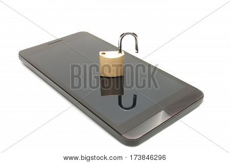 Close Up Shot Of A Smartphone With A Small Lock In Unlocked Position. Mobile Phone Security And Data