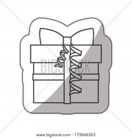 sticker silhouette gift box with knot ribbon vector illustration