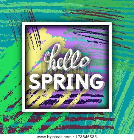 Spring Greeting. Best design. Decorative text with hand-drawn texture. Congratulations on the arrival of Springtime. Template for banners postcards brochures placards flyers. Vector Illustration.