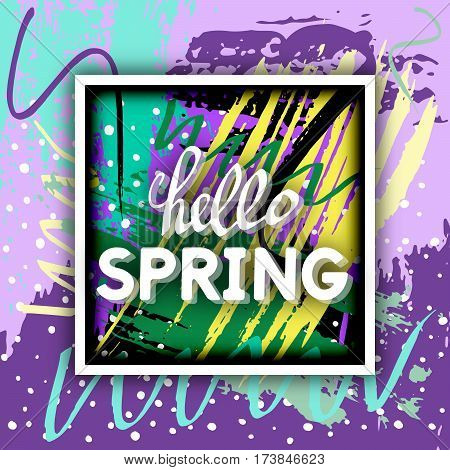 Vector Illustration: Spring Greeting. Best design. Decorative text with hand-drawn texture. Congratulations on the arrival of Springtime. Template for banners postcards brochures placards flyers.