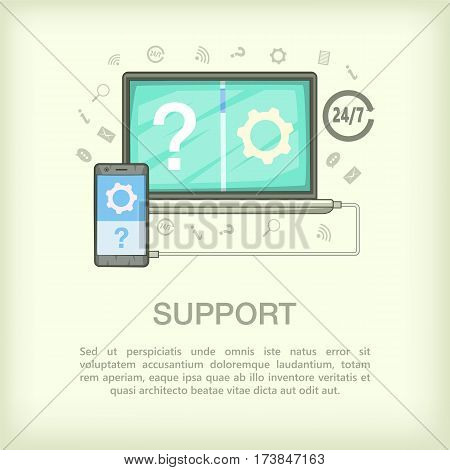 Call center concept connect. Cartoon illustration of call center vector concept for web