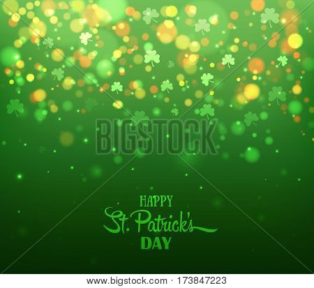 Green background with trifolium clovers, bokeh. Happy Saint Patrick's Day backdrop. Vector illustration for greeting card, poster, banner