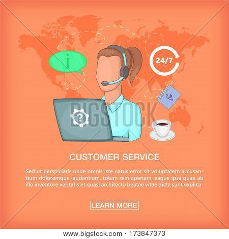 Call center concept girl support Cartoon illustration of call center vector concept for web