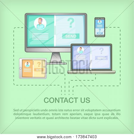 Call center concept devices. Cartoon illustration of call center vector concept for web