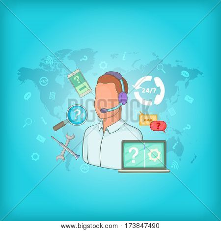 Call center concept global map. Cartoon illustration of call center vector concept for web