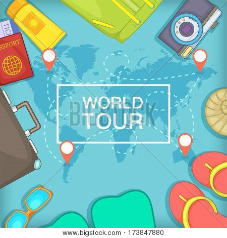 Sea rest concept world tour. Cartoon illustration of sea rest vector concept for web