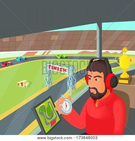 Racing coach concept. Cartoon illustration of racing coach vector concept for web