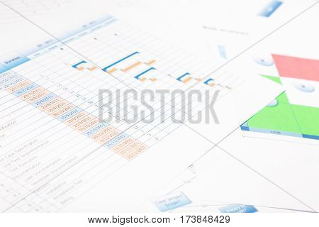 a shot of various charts and graphics used for project planning, including a gantt chart and a risk analysis matrix
