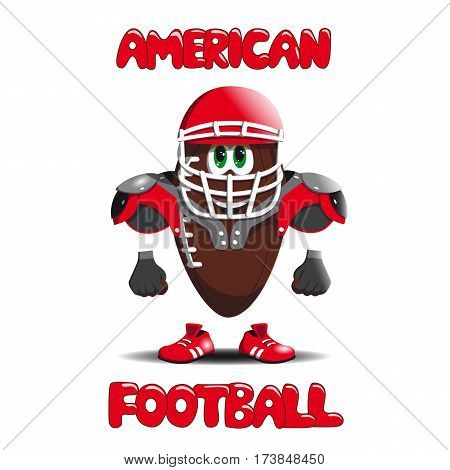 American football ball is a helmet running shoes and protective shields