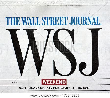 MONTREAL CANADA - FEBRUARY 28 2017 - The Wall Street Journal Newspaper logo. The Wall Street Journal Is an American international daily newspaper.