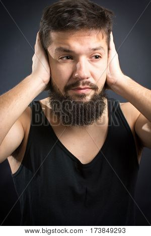 Worried Man With Hands On Face