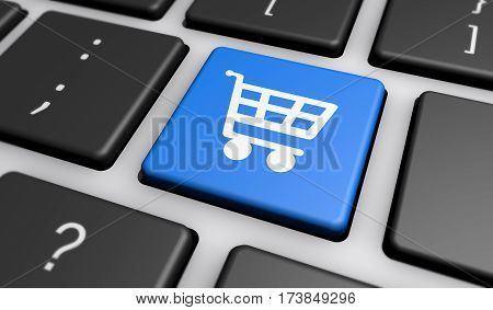 Online shop and e-commerce concept with shopping cart icon on computer keyboard 3D illustration.