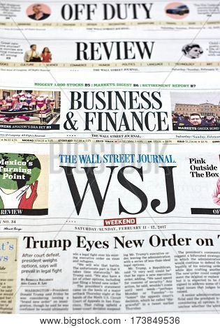 MONTREAL CANADA - FEBRUARY 28 2017 - The Wall Street Journal Newspaper. The Wall Street Journal Is an American international daily newspaper.