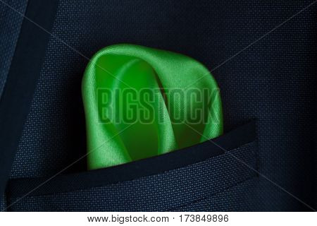 Green Handkerchief In Jacket A Pocket