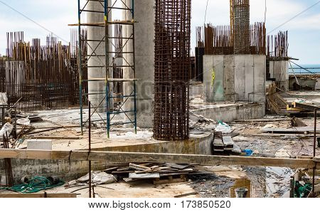 The Construction Of The Foundation And Concrete Rebar