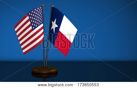 Texas State flag and USA desk flags on blue background 3D illustration.