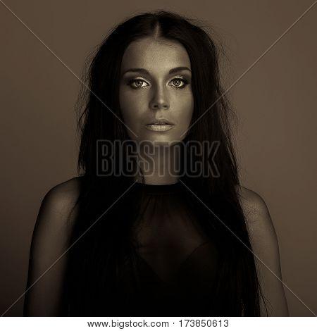 emotion expression dark girl face portraitbright eyes