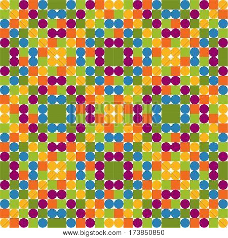 Seamless pattern made of colorful circles and squares solid bright and positive colors white background