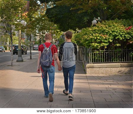 Gay couple in the city.Concept about homosexual, love and lifestyle