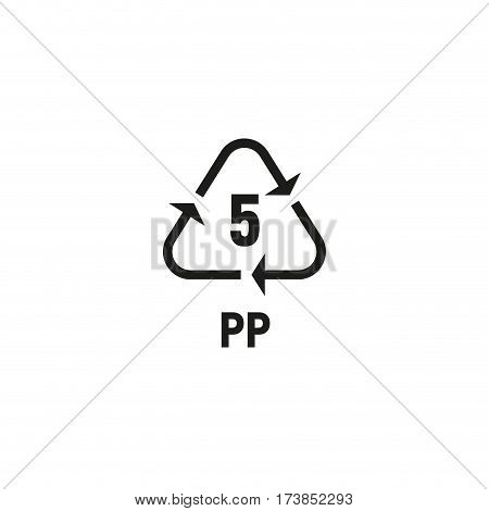 Packaging symbol isolated on white background vector illustration. Recycling symbol showing packaging materials made from polypropylene material. PP 5 sign