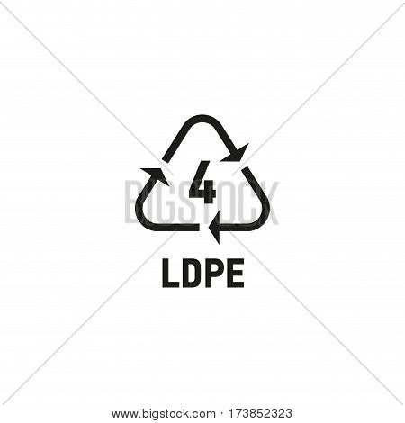 Packaging symbol isolated on white background vector illustration. Recycling symbol showing packaging materials made from low density polyethylene material. LDPE 4 sign