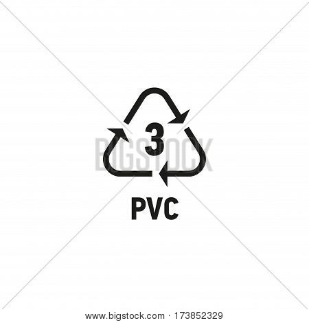 Packaging symbol isolated on white background vector illustration. Recycling symbol showing packaging materials made from polyvinyl chloride material. PVC 3 sign