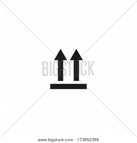 Top symbol isolated on white background vector illustration. Top position sign, arrows point towards top of the package. International standard black packaging pictogram