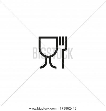 Food safe symbol isolated on white background vector illustration. Food safe symbol used for marking food contact materials in EU. International standard black packaging pictogram