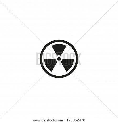 Caution radioactive material symbol isolated on white background vector illustration. Hazard sign, attention radioactivity warning. International standard black packaging pictogram