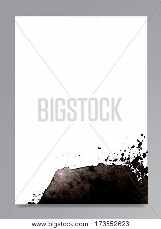 Hand drawn watercolor black stain. Gray watercolour background. Spot with droplets smudges stains splashes. Element for your design and decor backgrounds banners flyers.
