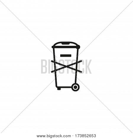 Not for general waste symbol isolated on white background vector illustration. Waste electrical and electronic equipment directive. International standard black packaging pictogram