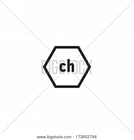 Packaging symbol symbol isolated on white background vector illustration. Ch hexagon sign. International standard black packaging pictogram