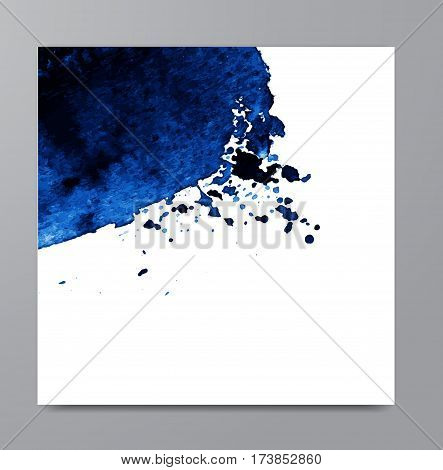 Hand drawn watercolor blue stain. Indigo watercolour background. Spot with droplets smudges stains splashes. Element for your design and decor backgrounds banners flyers.