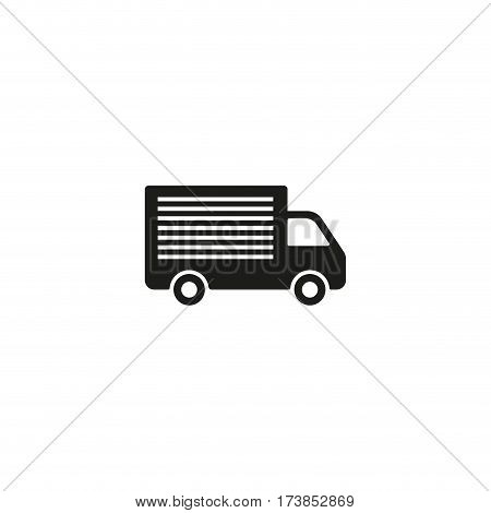 Truck shipping symbol isolated on white background vector illustration. Commercial delivery cargo container truck label. International standard black shipping pictogram