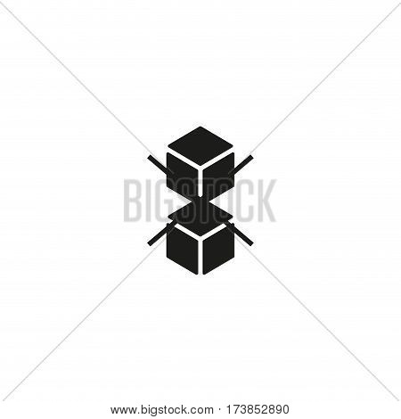 Do not stack symbol isolated on white background vector illustration. Safe handling delivery cargo label. International standard black shipping pictogram