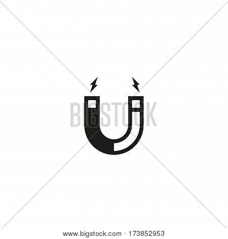 Attention magnet symbol isolated on white background vector illustration. Magnetism, magnetize, attraction sign. International standard black packaging pictogram