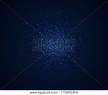 Randomly scattered glowing blue particles. Vector illustration