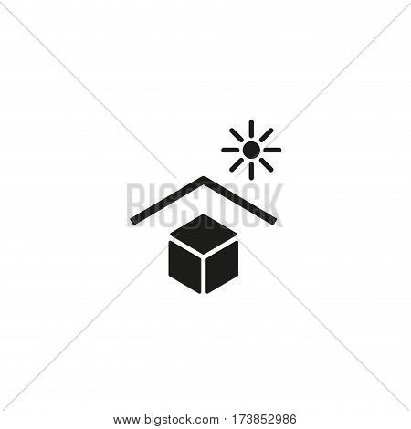 Keep away from direct sunlight symbol isolated on white background vector illustration. Solar protection cargo sign. International standard black packaging pictogram