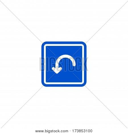 U-Turn roadsign isolated on white background vector illustration. Car parking regulation symbol, traffic sign, road information and help, roadway auto service icon