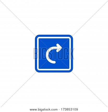 Right turn roadsign isolated on white background vector illustration. Car parking regulation symbol, traffic sign, road information and help, roadway auto service icon